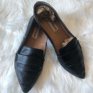 Black Lea Leather Steve Madden Loafers Size 6.5